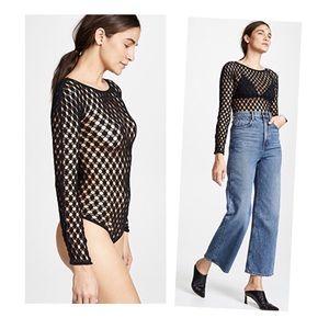•Wolford 'Athina' black net bodysuit•